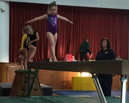 A gymfun gymnast practising her competition routine